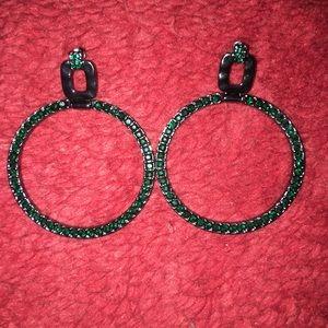 Jewelry - Dark green hoop fashion earrings